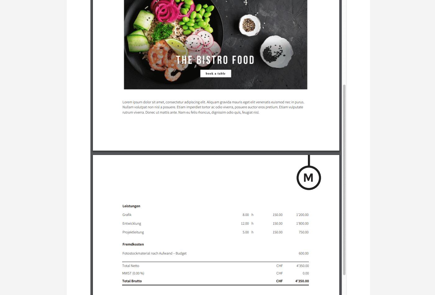 Angebot mit Bilder bzw. Fotos