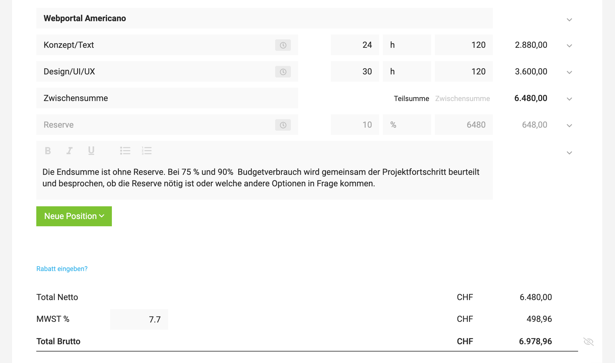 Angebot mit Preisspanne, Reserve bzw. Puffer