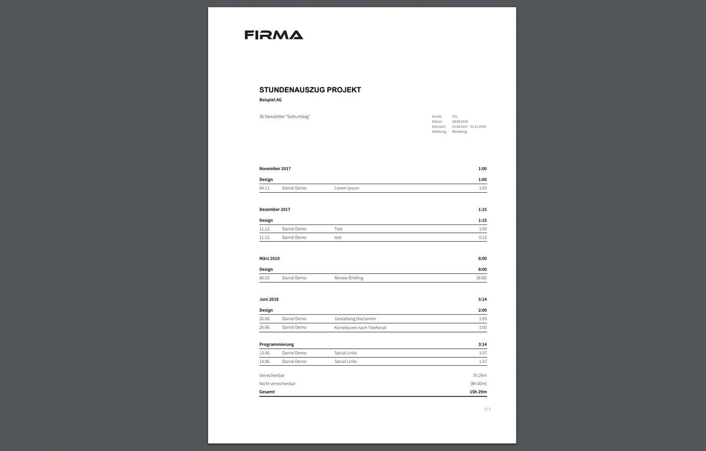 Stundenauszug als PDF, Excel oder CSV
