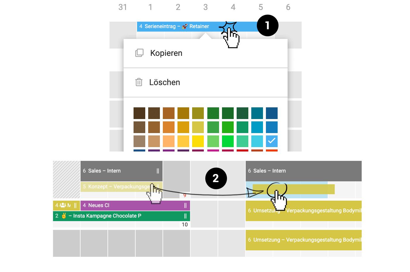Einträge per drag'n'drop verschieben und kopieren etc.