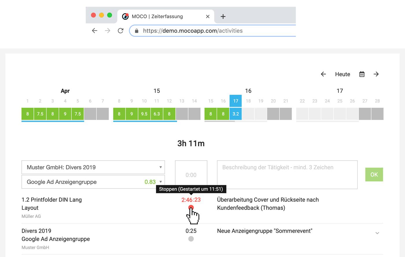 zeiterfassung stoppuhr timer