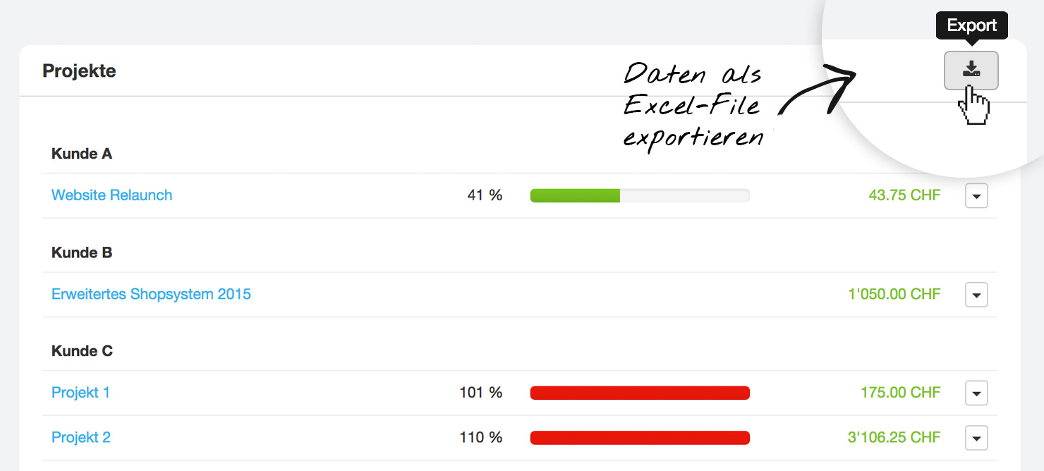 Excel Daten Export