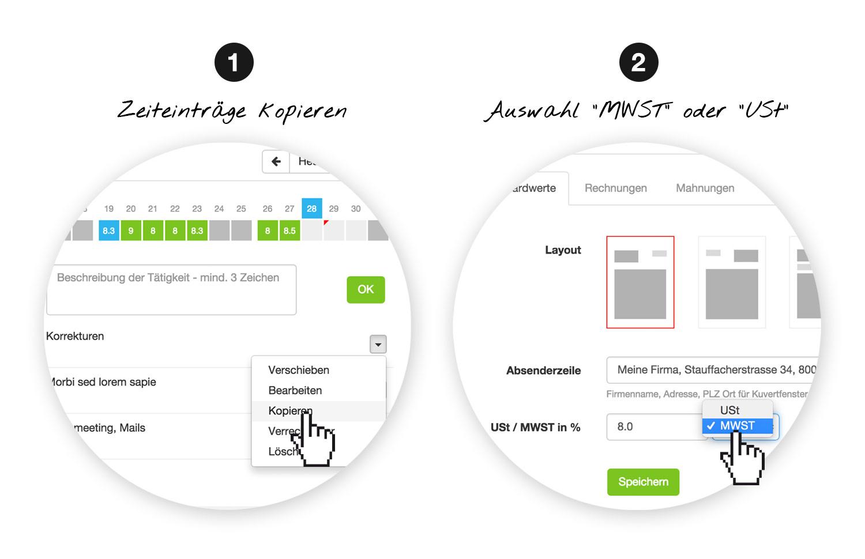 Online-Zeiterfassung Einträge kopieren