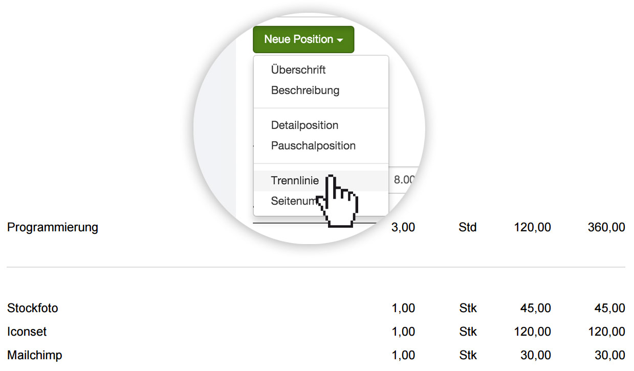Trennlinie bei Rechnungen und Angeboten