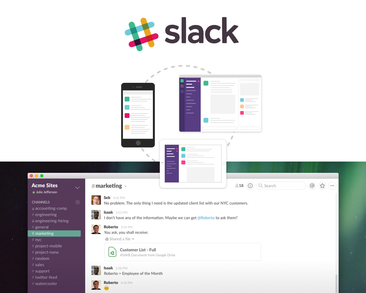 Slack firmenkommunikation chat datenaustausch
