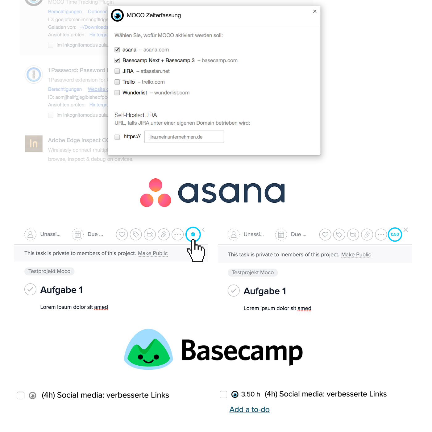 Asana basecamp zeiterfassung time tracking