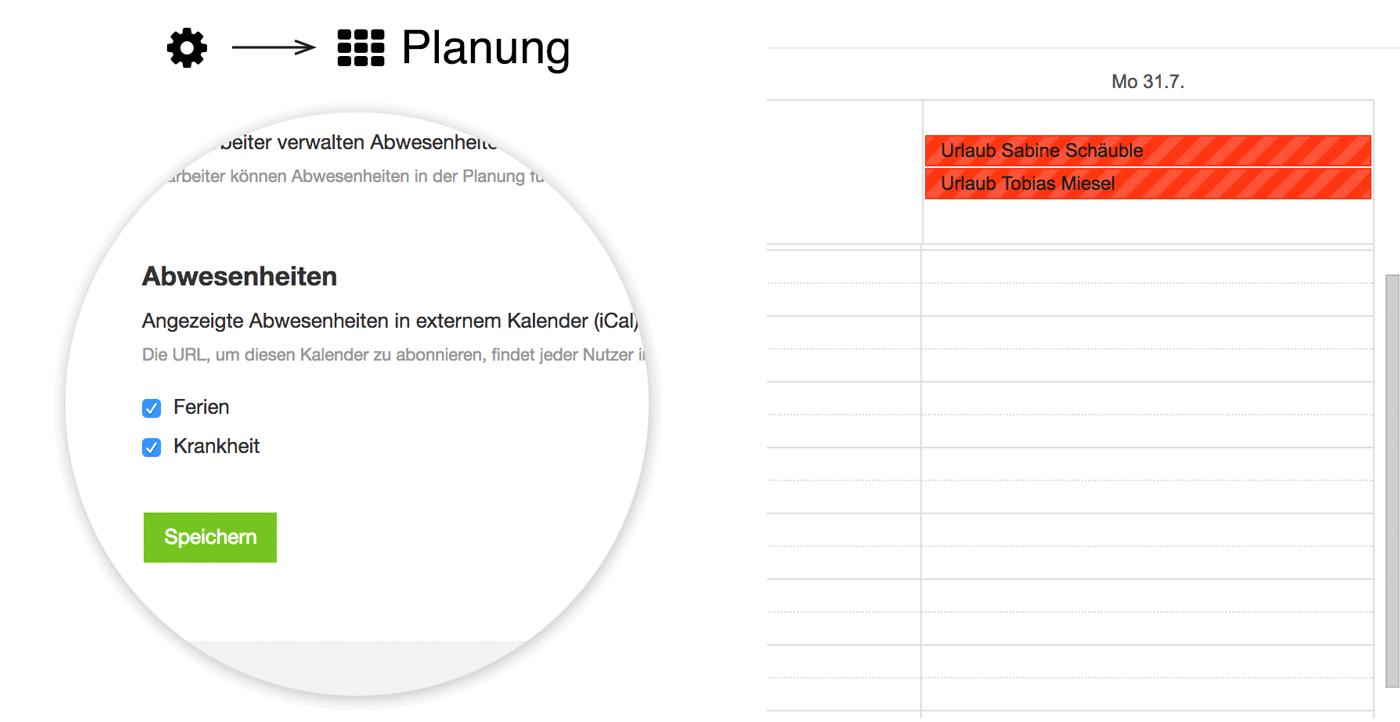 Ferien aller Mitarbeiter in externem Kalender anzeigen