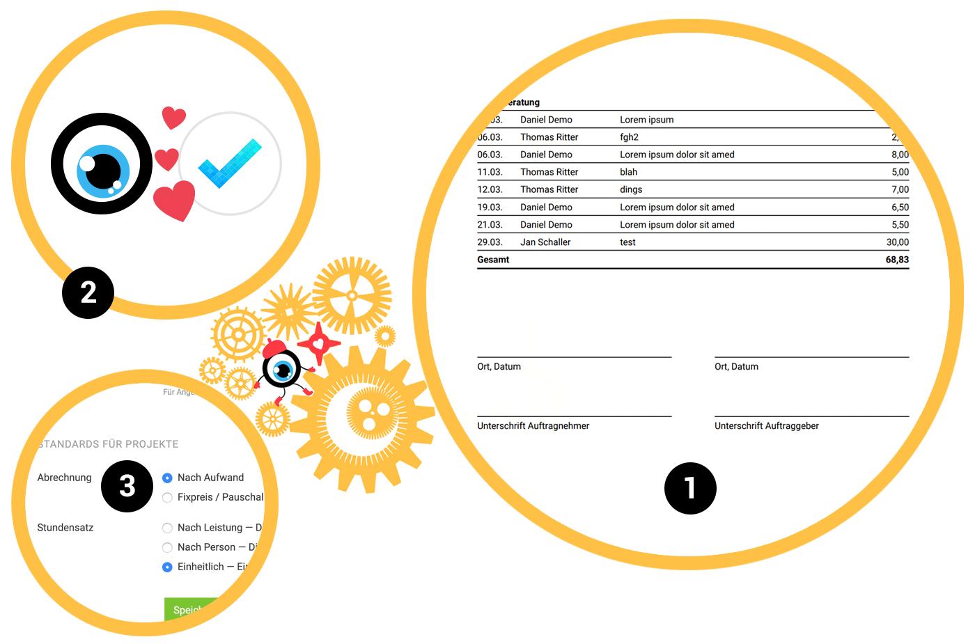 Meistertask und MOCO arbeiten zusammen. Unterschrift Stundenauszüge
