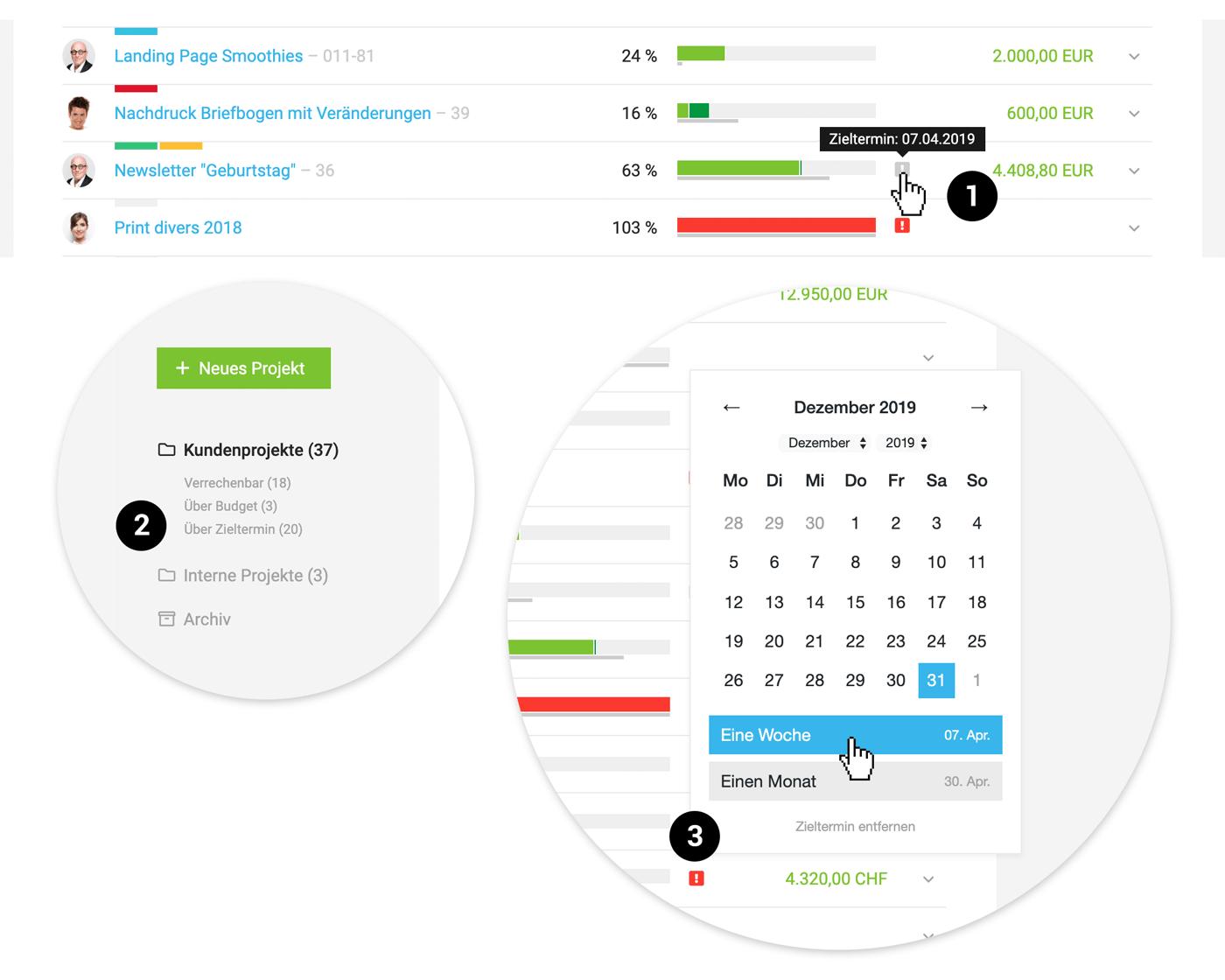 Hinweis zum Zieltermin in der Projektliste