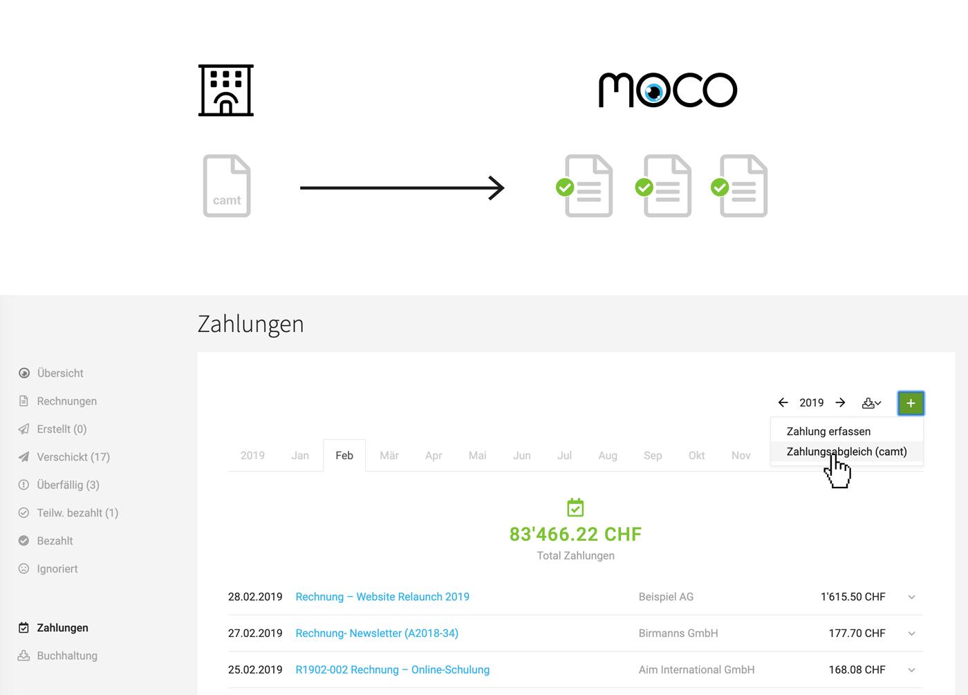 Zahlungsabgleich rechnungen camt moco agentursoftware