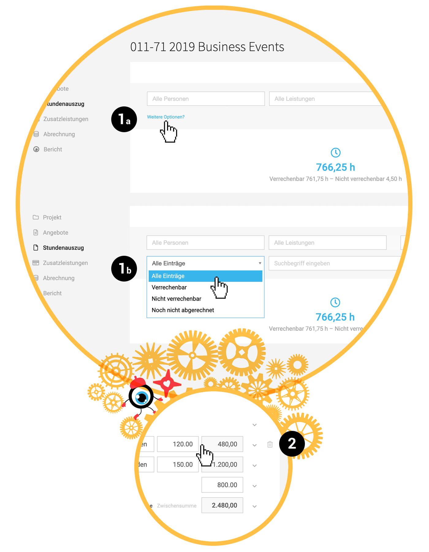 Filteroptionen Stundenauszug Zeiterfassung Cloud Software