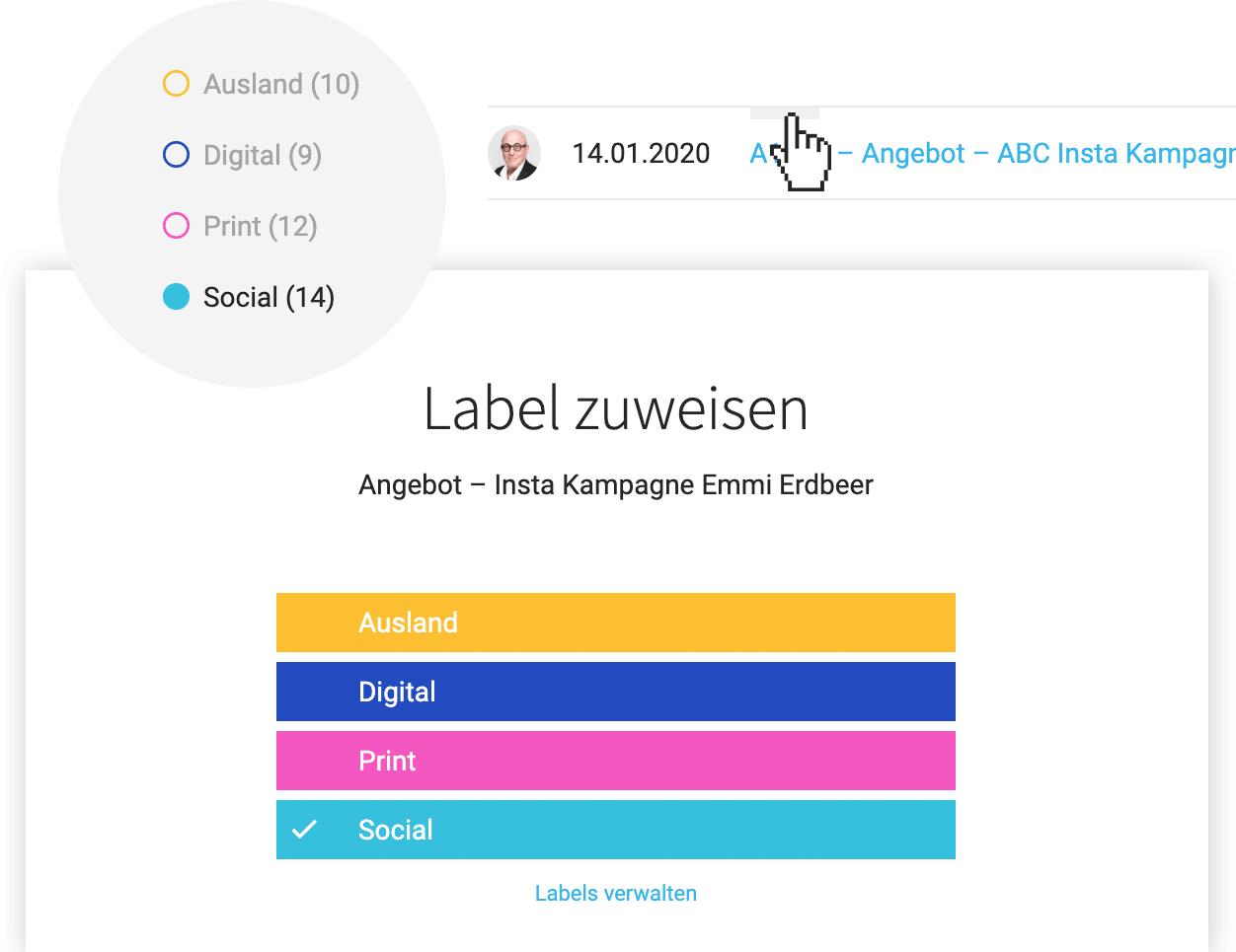 Angebote kategorisieren und markieren - mit Labels