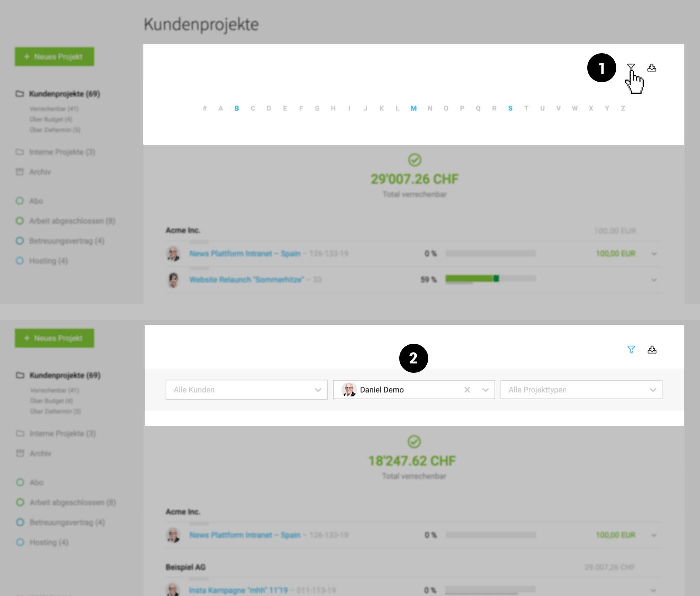 Projektmanagement: Filterung von Projekten