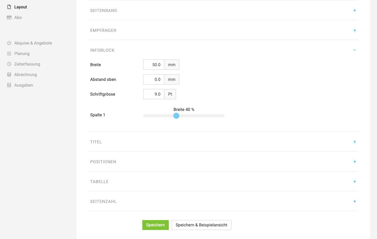 Ci individuelles layout einstellungen